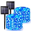 JMEXSUSS 2 Pack Solar String Lights Outdoor, 65.6ft 200 LED Blue Solar Powered Fairy Lights, 8 Modes Waterproof Copper Wire Fairy Lights for Home, Garden, Patio, Wedding, Party, Christmas Decoration