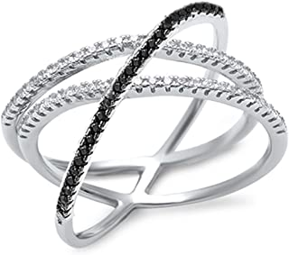 New Black & Cz Criss Cross Design .925 Sterling Silver Ring Size 5-11