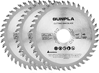 Gunpla 3 Pieces 4-1/2-inch 40 Tooth Alloy Steel TCT General Purpose Hard & Soft Wood Cutting Saw Blade with 7/8-inch Arbor