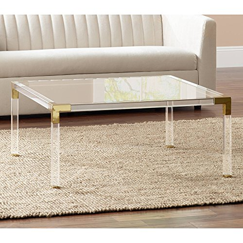 """Hanna 40"""" Square Clear Acrylic Modern Coffee Table - 55 Downing Street"""