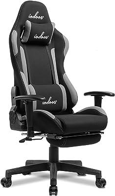 IODOOS ゲーミングチェア オットマン付き gaming chair オフィスチェア ゲーム用チェア 180度リクライニング 通気性 耐荷重120kg 布製 (グレー) 01CBA