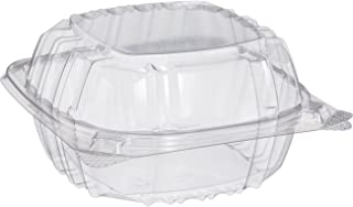 Pack of 100 Small Clear Plastic Hinged Food Container 6x6 for Sandwich Salad Party Favor Cake Piece