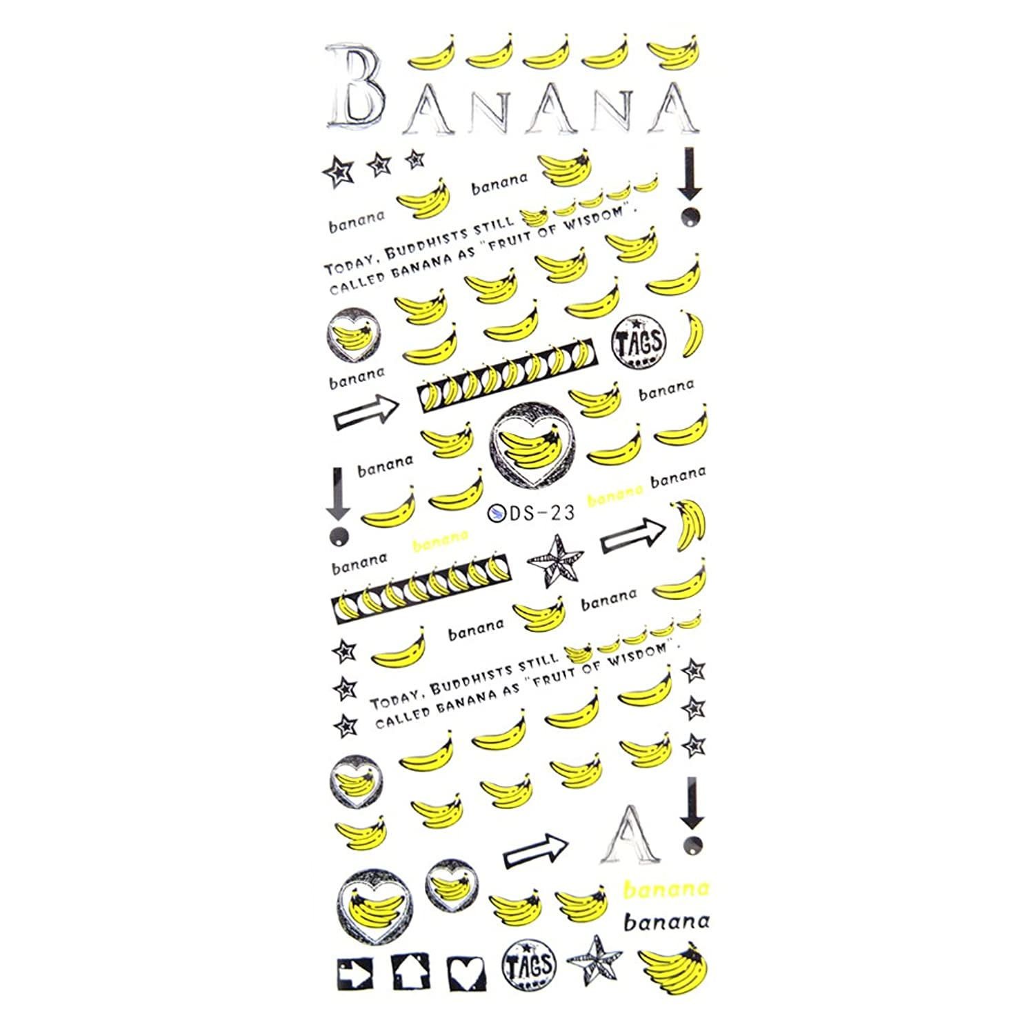 航空会社感染するとらえどころのない【DS-23】 バナナ柄ネイルシール ネイルシール ウォーターネイルシール バナナ フルーツ ネイルアート ジェル ジェルネイル