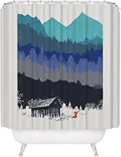 Fuzzy Ink Wilderness Nature Lover Shower Curtain Mountain Forest Outdoor Landscape Inspiration Woodland Red Fox Rustic Cabin House Mildew Resistant Fabric Bathroom Decor