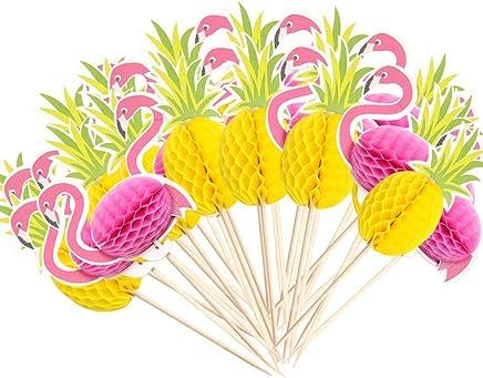 Howaf Cupcake Toppers de Magdalena y Papel Copa Doble Cara de Hawaiian Luau Hibiscus Hojas Flamingo para Verano Playa Fiesta de Hawaii Tropical Tiki Boda y Cumplea/ños Decoraci/ón de Mesa 24piezas