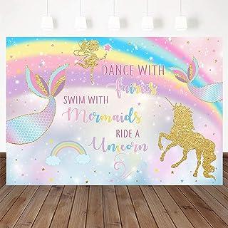 Unicorn Mermaid Fairy Birthday Backdrop, Swim with Mermaids Ride A Unicorn Party Decorations Rainbow Magical Birthday Part...