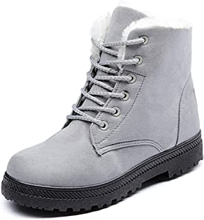 Suede Flat Platform Sneaker Shoes Plus Velvet Winter Women's Lace Up Cotton Snow Boots