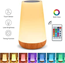 Table Lamp Touch Night Light - Portable Sensor Remote Control Bedside Lamps with Quick Rechargeable USB Dimmable Warm White Light 13 Colors RGB Table Lamp for Bedroom Living Room Office Hallways