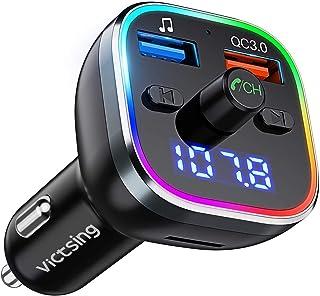 Transmisor FM Bluetooth V5.0, [RGB 7 Colores Luz de Anillo] VicTsing Manos Libres para Coche QC3.0 Carga rápida, Reproduct...