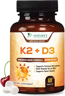 Vitamin K2 and D3 Supplement - High Potency Vitamin D Complex, Chewable for Better Absorption, Made in USA, Support for Yo...