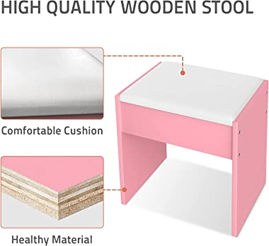 Advwin Dressing Stool, Makeup Chair with Leather Upholstered, Wooden Square Dressing Stool for Kitchen/Bedroom/Living Room-Pi