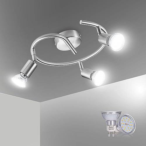 Bojim Plafonnier 3 Spot Orientables,Inclure 3 Ampoules LED GU10 (6W, 600lm, 4500K Blanc Neutre),Luminaires Intérieur ...