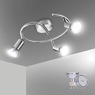 Bojim Plafonnier 3 Spot Orientables,Inclure 3 Ampoules LED GU10 (6W, 600lm, 4500K Blanc Neutre),Luminaires Intérieur pour ...