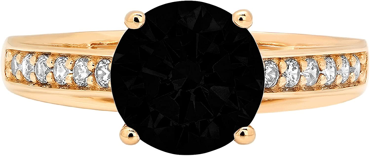 2.15ct Round Cut cathedral Solitaire Natural At the price of surprise Japan Maker New Flawless Black Onyx