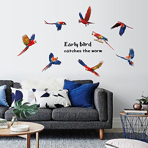 Gekleurde papegaai koelkast kast Xuanguan vloer manier bank tv achtergrond decoratieve muur plakken 50cm X 70cm