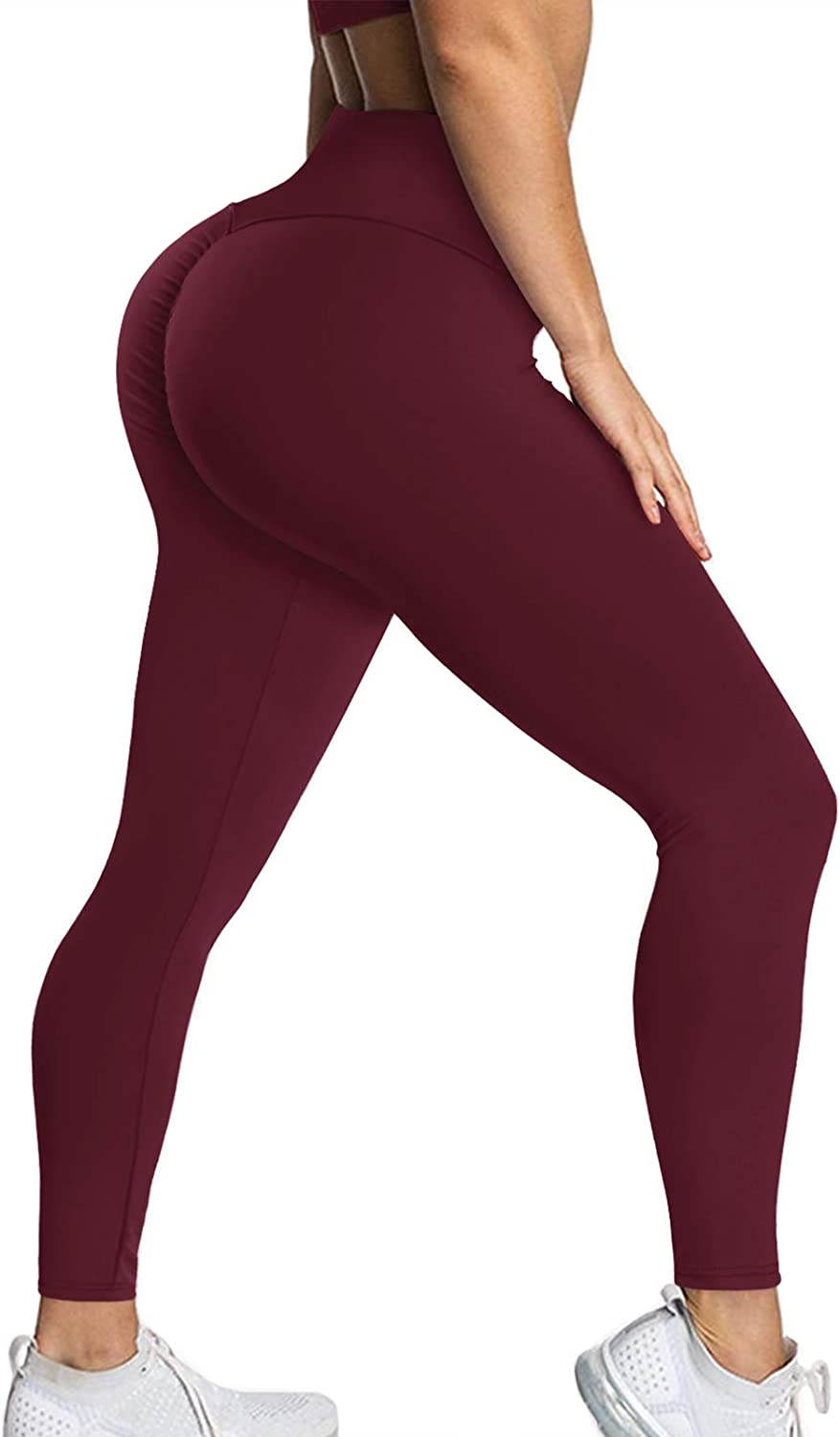 YAMOM Women High Waisted Scrunch Booty Butt Lifting Leggings Workout Ruched Yoga Pants Tummy Control Tights