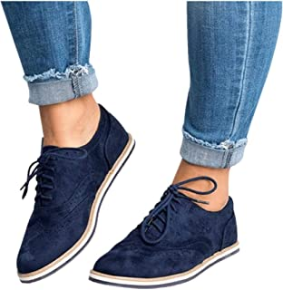Womens Ankle Flat Suede Lace-up Sport Shoes Walking Running Casual Fashion Sneakers