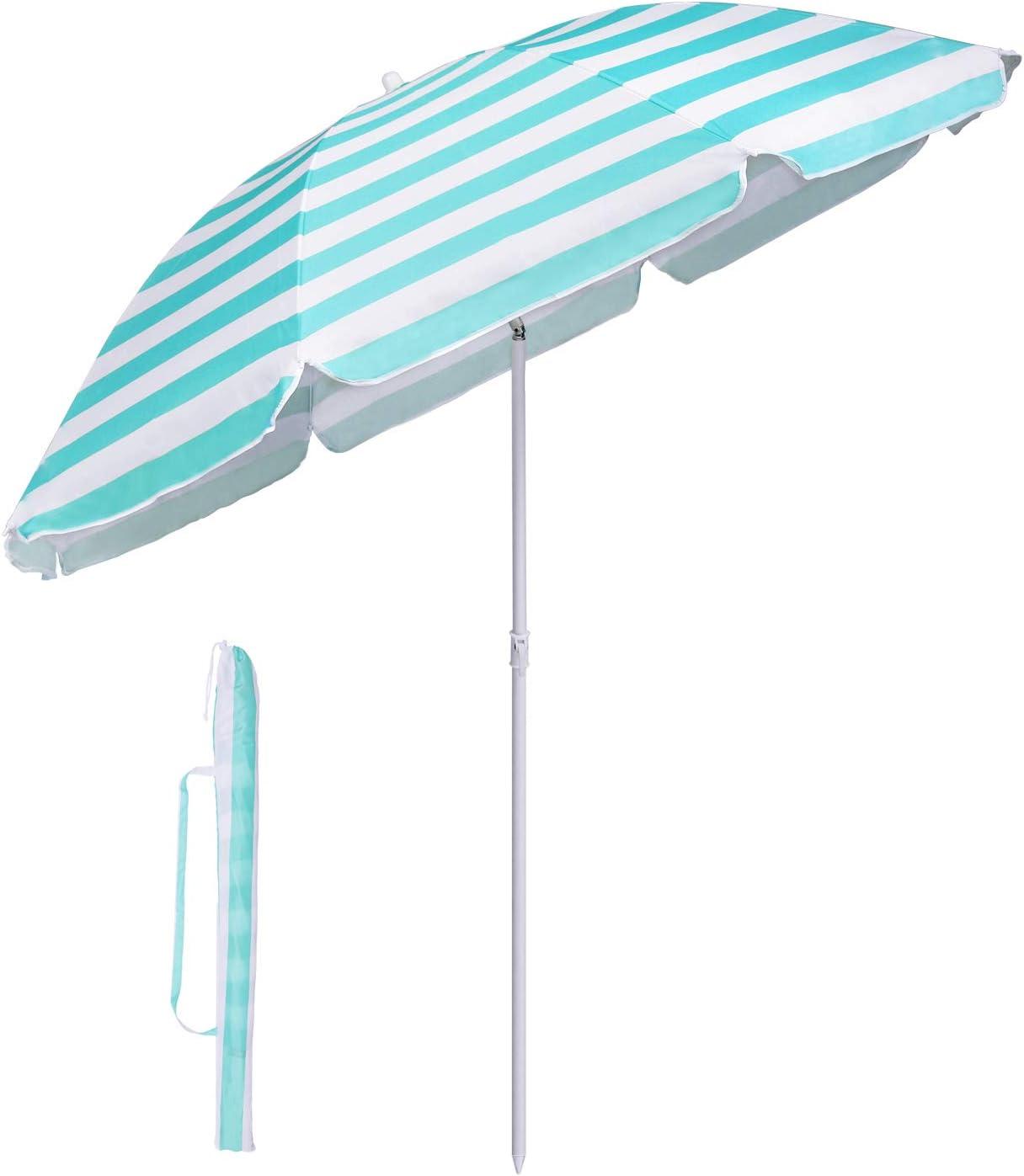 Sekey/® Ombrellone /Ø 160 cm Tondo Ombrello Parasole da Esterno da Giardino da Spiaggia Verde Protezione Solare UV20+
