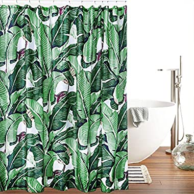 Creative & Smart Shower Curtain – 100% High-Grade Polyester Material, Amazing Exotic Rainforest Banana Leaf Pattern, Waterproof & Heavy-Duty Design, Bathroom Curtain Hooks Included, 180cm X 180cm