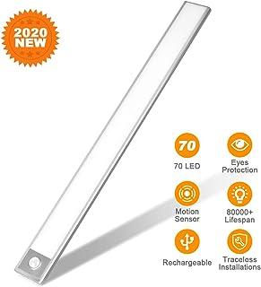 70 LED Closet Light, Rechargeable Eye Protection Under Cabinet Lighting Bar, Energy Saving Motion Sensor Motion Lighting Luxury Aluminum Lighting for Indoor,Outdoor,Kitchen,Cabinet (2 Sensor Modes)