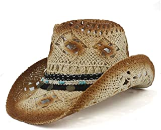 Sun Hat for men and women Retro Handmade Weave Straw Women Men Hollow Western Cowboy Hat Lady Dad Sombrero Hombre Cowgirl Jazz Sun Caps