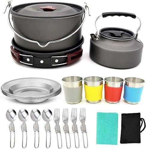 QETU 22pcs Camping Cookware Kit Mess, Camping en Plein air de Pique-Nique Pot, Tasses fourchettes cuillères kit pour Camping en Plein air randonnée et Pique-Nique