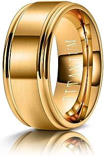M MOOHAM Titanium Rings Silver Blue Gold Black 4mm 6mm 8mm 10mm Brushed Center Step Edge Mends Wedding Bands for Him Size ...