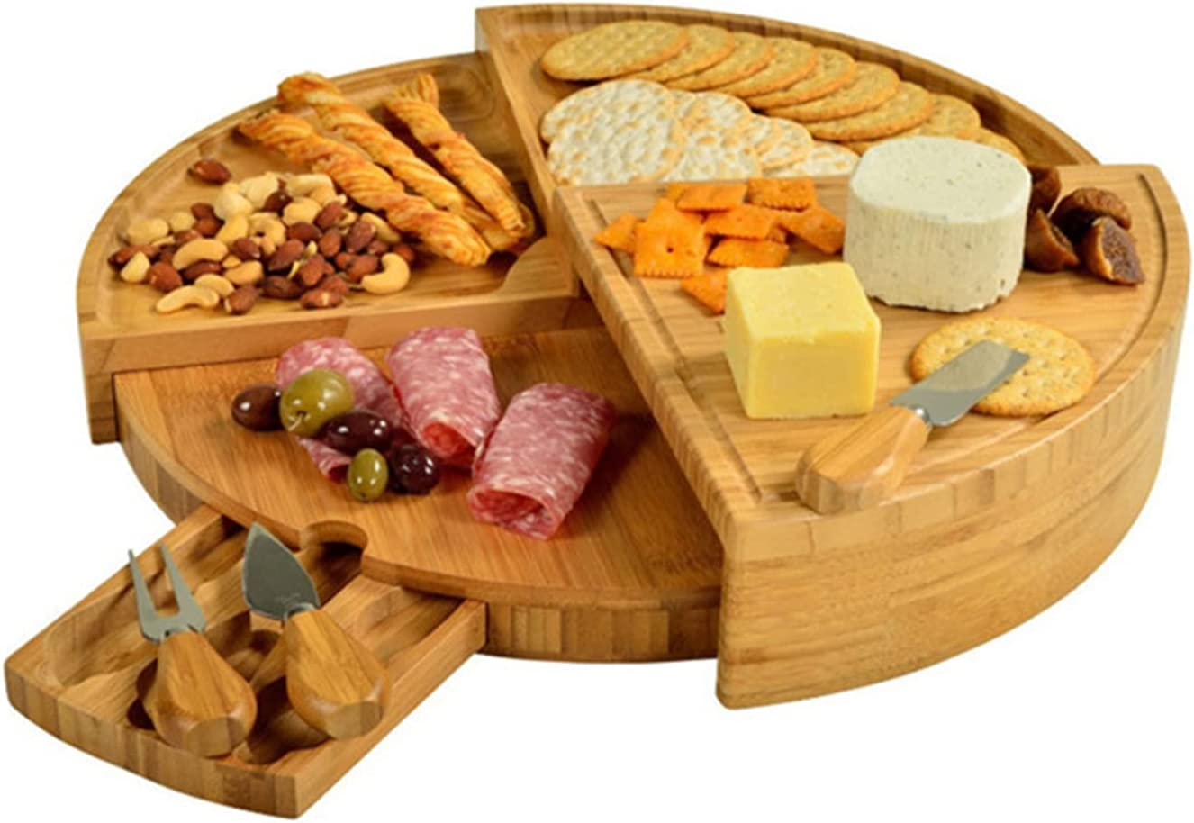 LTINN Bamboo Popular standard Cheese Board with for Serving store Set- Knife and