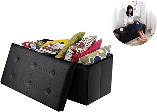 30 Folding Storage Ottoman Bench Faux Leather Ottoman Large Collapsible Office Ottoman Entryway Storage Ottoman Bedroom Storage Ottoman Rv Footrest Stool Seat With Lift Top 30 X 15 X15 Black
