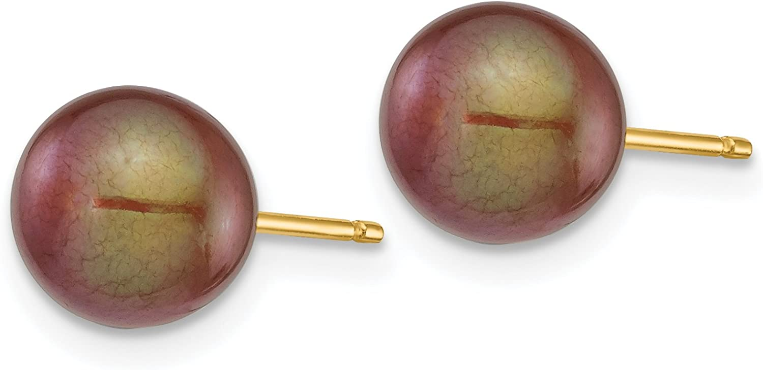 Chocolate Brown Freshwater Cultured Pearl Post Earrings in Real 14k Yellow Gold