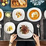 MALACASA, Serie Elisa, 48 TLG. Porzellan Tafelservice Kombiservice Geschirrset, 12 Dessertteller, 12 Suppenteller, 12 Flachteller und 12 MüsliSchäle für 12 Personen - 4