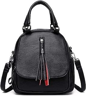 Fashion Casual Tassel Handbag Soft Leather Solid Color Handbag Shoulder Double Back Bag Crossbody Bag Messenger Bag Three-Purpose Backpack (Color : Black)
