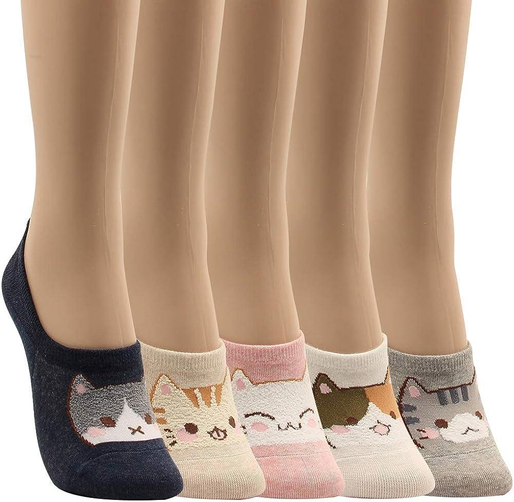 WOWFOOT Women Animal Design No-Show Casual Liner Socks Character Print Non Slip Flat Boat Line 4 Pair