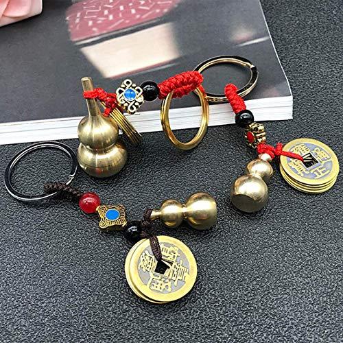 LIUXINDA-HZ 2 Llavero Chino de latón de Calabaza Feng Shui Moneda Amuleto Decoración Colgante Llavero, Buena Suerte y éxito (Color: Negro)