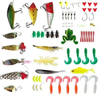 Apusale Fishing Lures Baits Tackle Including Crankbaits, Spinnerbaits, Plastic Worms, Jigs, Topwater Lures, Tackle Box and More Fishing Gear Lures Kit Set
