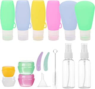 16 PCS Travel Accessories Leakproof Silicone Refillable Travel Bottles BPA Free Travel Containers for Toiletries Cosmetic ...