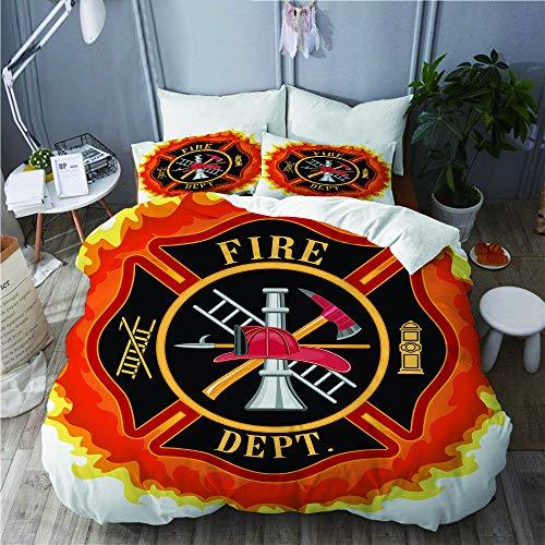 NOLOVVHA Bettwäsche-Set,Feuerwehr-Symbol mit Leiter Öffentlicher Dienst Grundlegende Werkzeuge von Feuerwehrleuten,Mikrofaser Bettbezüge Set mit Reißverschluss,und Kopfkissenbezüge,240x260