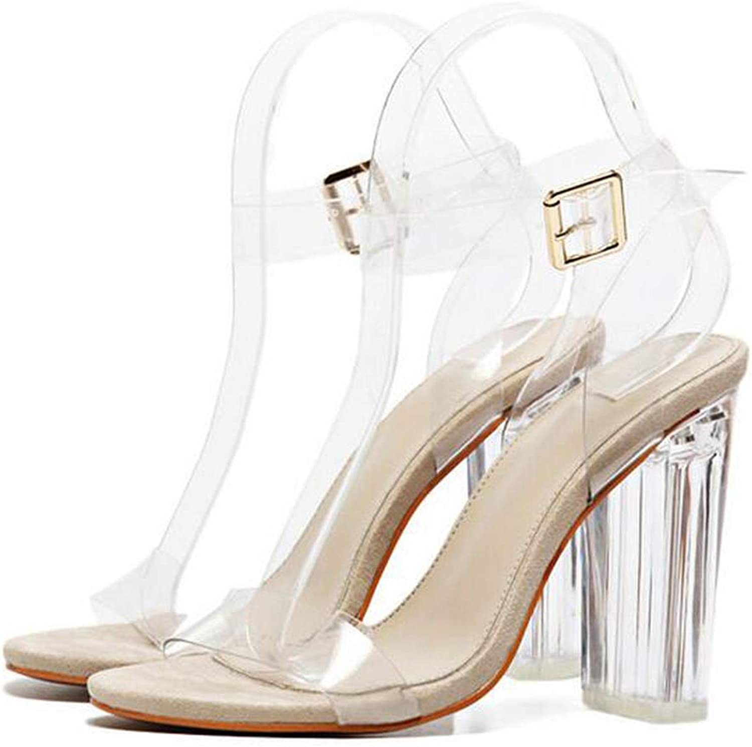 New PVC Sandals Sexy Clear Transparent Ankle Strap High Heels Party Sandals shoes Size 35-42