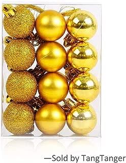 TangTanger Christmas Ball Assorted Pendant Shatterproof Ball Ornament Set Seasonal Holiday Wedding Party Decorations(24 pcs, 3 cm) (Gold 01)