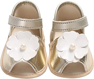 Cloudro Baby Shoes Toddler Girl Elegant Pearl Flower Sandals Single Princess Shoes