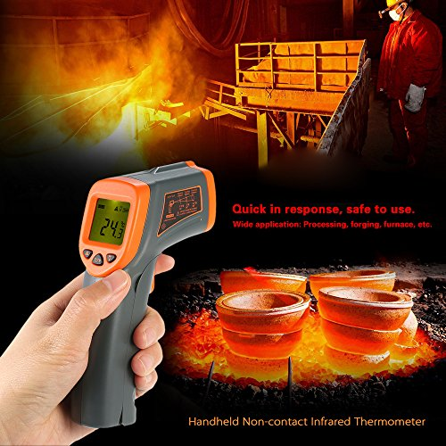 KKmoon Infrarot-Thermometer, 32 ~ 380 ℃, 12: 1, tragbar, digitales Infrarot-Thermometer, berührungslos, Tester für Industrie, Pyrometer, LCD mit Hintergrundbeleuchtung