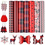 Zobidobi 7PCS Double-Sided Plaid Faux Leather Sheets for Crafts,Leather Fabric Cricut Supplies for Leather Earring, Hair Bows, Crafts Making,Festival Decorations(8.7''x12.6'')