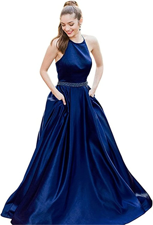 Homdor Prom Dresses 2018 Long Backless Halter ALine Beaded Evening Gown Pockets