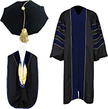 Newrara Unisex Deluxe Doctoral Graduation Gown, Doctoral Hood and Doctoral Tam 8 Sided Package