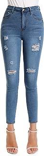 kefirlily Denim Damen Hight Waist Jeans Hose Röhrenjeans mit Riss am Knie Ladies Jeans Skinny, Stretch Jeans Damen, Damen Zerrissene Jeanshosen