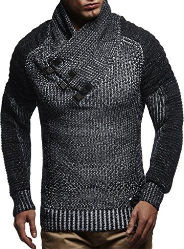 LEIF NELSON Men's Knitted Pullover LN5225; size L, Black-Ecru