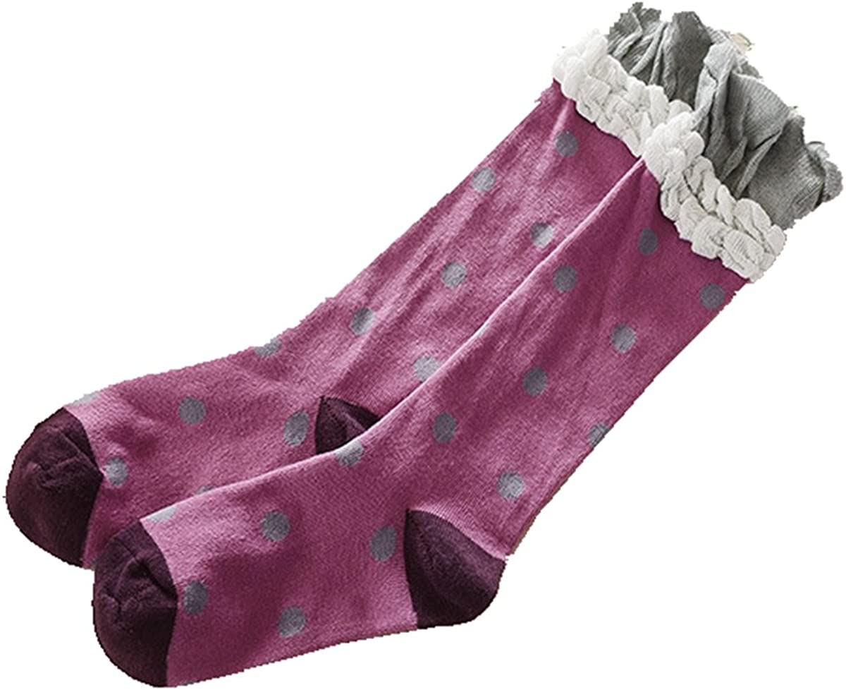 Girls Knee High Socks Cartoon Wide Strip Comfort Cotton Stockings Sock 3 Pair Pack