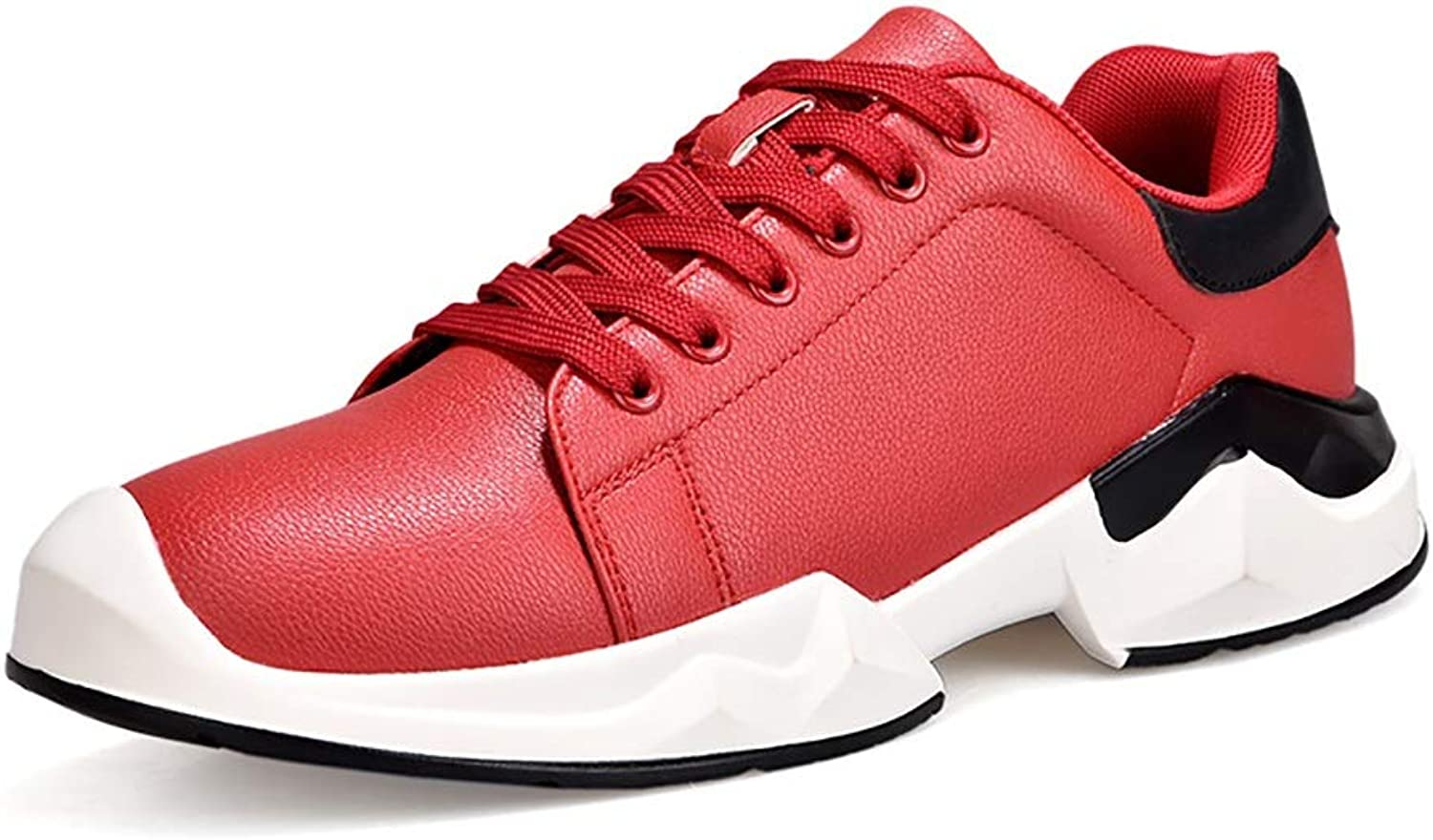 Y-H Men's shoes Spring Fall PU Comfortable Sneakers Student Running shoes Stylish Deck shoes Outdoor Sports shoes White, Red, Black (color   A, Size   42)