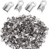 300 Pieces 304 Stainless Steel Fold Over Cord Ends Cord Crimp End Tips Fold-Over End Caps Leather Ribbon Ending Clasp Tips Jewelry Connector for Jewelry Making, 3 x 8 mm