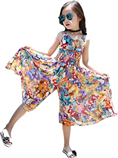 Remanlly Kids Teen Children Girls Sleeveless Bohemia Butterfly Ruched Jumpsuit Romper Set Outfits summer fashion party clo...
